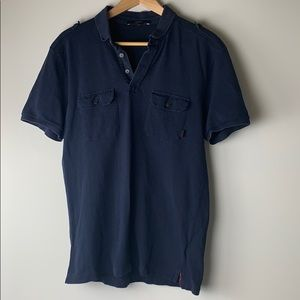 Gucci Vintage Navy Blue Cotton Polo Size Medium